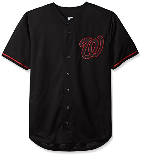 MLB Washington Nationals Men's Short Sleeved Texture Replica Jersey with Pop Applique, 2X/Tall, Black – DiZiSports Store