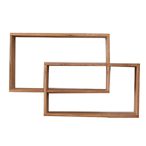 CHAOXIAN Floating Wall Shelves Double Ring Multifunction Solid Wood CD Holder Ledge Storage ()