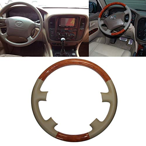 Pursuestar Tan Leather Brown Wood Steering Wheel Protector
