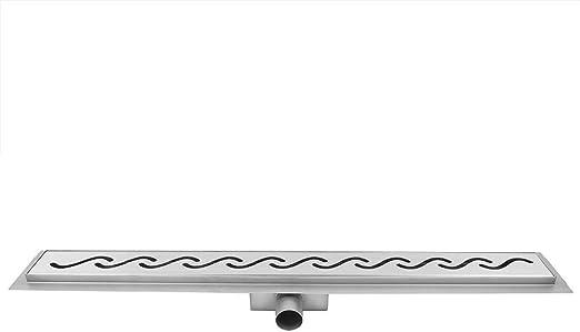 GOTOTOP Canaleta de ducha, metal brillante, desagüe de suelo de acero inoxidable, estilo ondulado para elegante cuarto de baño, 600 mm: Amazon.es: Hogar