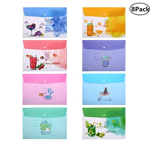 Skydue Cartoon Printed Poly Envelope File Filing Holder with Snap Button Closure Document Paper Organizer, Pack of 8, 8 Assorted Patterns