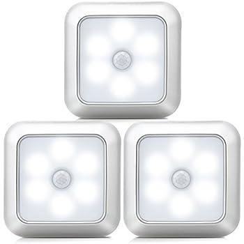 URPOWE Motion Sensor Light, 6 LED Bulbs Motion Sensor Lights Battery Operated Stick-on Anywhere Wireless Night Lights Magnetic Motion Sensor Security closet Light for Stairway Closet Cabinet (3 Pack )