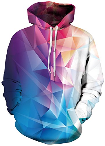 Bettydom Galaxy Unisex Cosmic Animal Print Hoodie Sweaters Sweatshirts (Large/X-Large, Colourful Diamond)