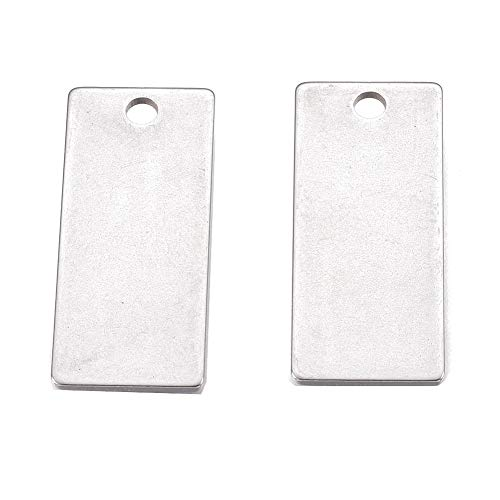 Kissitty 10Pcs Stainless Steel Rectangle Hand Stamping Blank Tag Pendants Necklace Charms 1.1