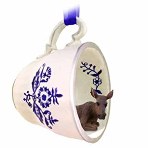Moose Cow Tea Cup Blue Ornament