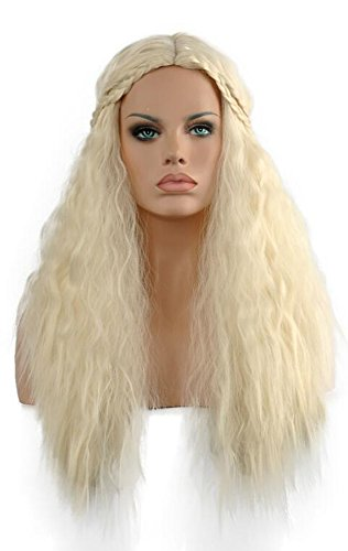 Diy-Wig Fashion Long Curly Cosplay Blonde Wigs Heat Resistance Games Halloween Party Hair Wig (Khaleesi Halloween)