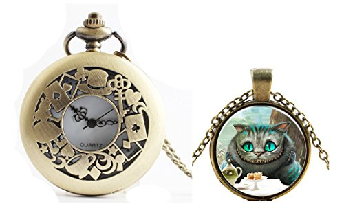(G Inspired Alice in Wonderland Pocket Watch Necklace + Cheshire Cat Pendant Necklace Charms)