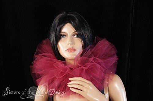 Elizabethan Dance Halloween Costumes - Burgundy wine tulle neck collar ruff