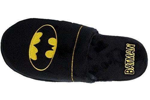 Official Batman DC Comics Warner Bros Herren Weiches Plüsch Slip Auf Maultier-hausschuhe Schwarz