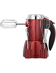 VonShef 250W 6 Speed Hand Mixer with Stand and 5 Accessories Includes 2 Dough Hooks, 2 Beaters & 1 Whisk plus Turbo Function and Handy Stand - Stylish Red Design