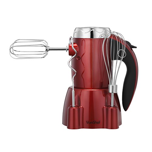 VonShef 250W 6 Speed Hand Mixer with Stand and 5 Accessories Includes 2 Dough Hooks, 2 Beaters & 1 Whisk plus Turbo Function and Handy Stand – Stylish Red Design
