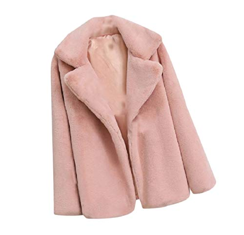 Plus Pink Top Fluffy Down Women Coat Howme Solid Collar Size Turn Fall Color 7xOqn5F6