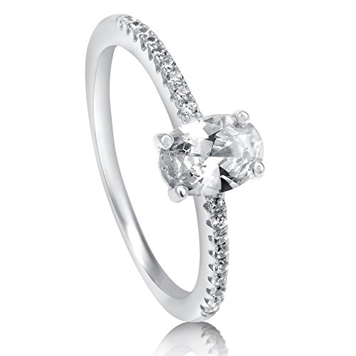 BERRICLE Sterling Silver Oval Cut Cubic Zirconia CZ Solitaire Womens Promise Engagement Wedding Ring