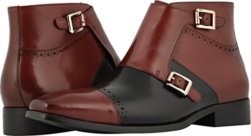 - STACY ADAMS Men's Kason Cap Toe Double Monkstrap Boot Burgundy/Black 9 D US