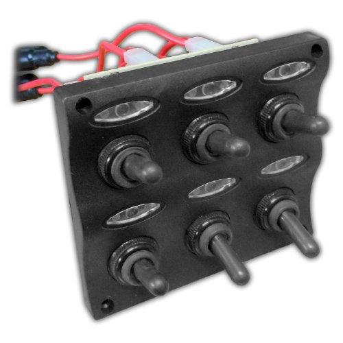 marine electric 6 gang led toggle switch panel for boat. Black Bedroom Furniture Sets. Home Design Ideas