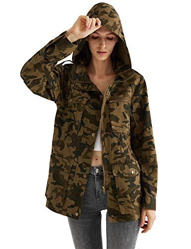 Escalier Women's Anorak Jacket Lightweight Drawstring Hooded Military Parka Coat (X-Large, Camouflage - Drawstring Parka