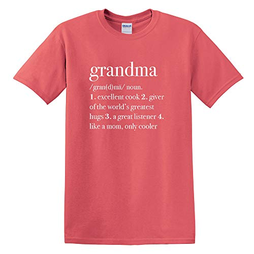 Elanze Designs Grandma Definition Cotton Unisex Adult Front Print Classic T-Shirt - Coral Silk, (Definition Fitted T-shirt)