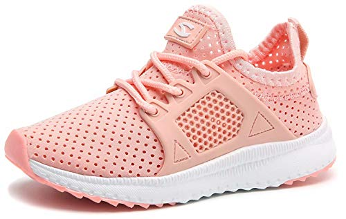 BODATU Kids Boys Girls Running Shoes Breathable Casual Lightweight Hollow Out Slip on Sneakers Pink 28