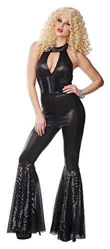 [70s Black Disco Jumpsuit Adult Costume] (70s Jumpsuit Costumes)