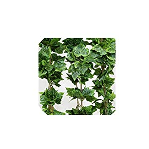 Solarkirin Fake Flowers 10PCS Artificial Silk Grape Leaves Hanging Garland Faux Vine Ivy Indoor Outdoor Green Leaves Garden Wedding Home Decor,Russian Federation 24