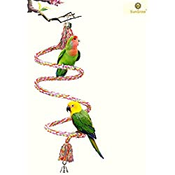 Rope Perch for Parrots - Bungee Bird Toy - Improves Balance, Coordination and Agility - Brightly Colored Handmade Chew Toy - Ideal for Relaxing - Cage Swing and Climbing Stand Bar with Bell