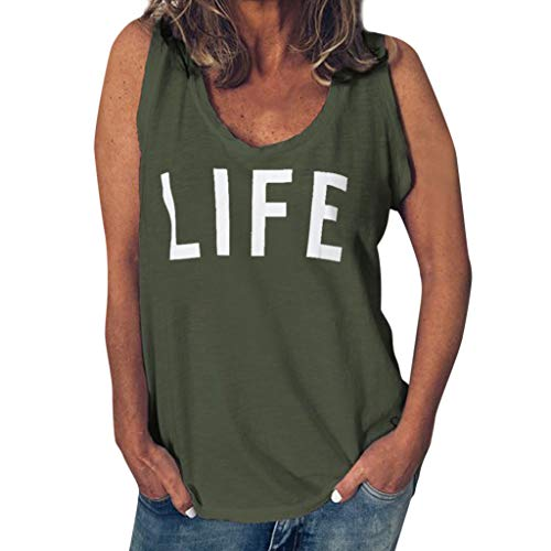 (Funny T Shirt for Women,ONLY TOP Womens Casual Life Letter T Shirt Short Sleeve&Sleeveless O Neck Blouse Tee Green)