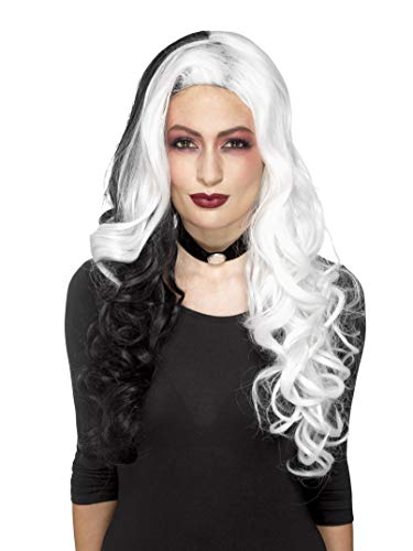 Smiffys Women's Deluxe Evil Madame Wig, White/Black, One Size]()