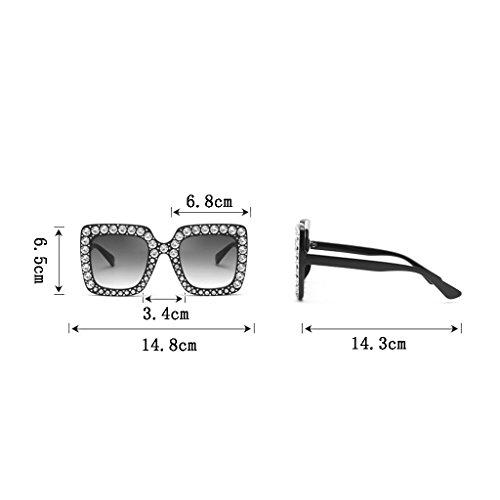 Marco Gafas UV400 D Diamantes Gran Los Sol Mujeres Decoración Explosión Color Gafas de Personalidad Europa Unidos Gafas C Estados Modelos YR7wYrqxS