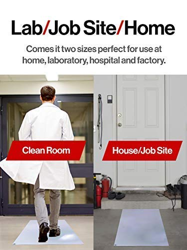 """IPRIMIO Premium Sticky Tacky Mats - Optimal Thick 0.04mm – 18""""x 36"""". 4 Pack of 30 Sheets/ 120 Sheets, White, Clean Room Laboratory, Hospitals, Office, Construction, Home, Clinics by SlipToGrip (Image #2)"""