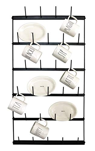 Metal Coffee Mug Rack - Large 6 Row Wall Mounted Storage Display Organizer Rack For Coffee Mugs, Tea Cups, Mason Jars, and More. (38