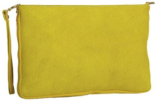BHBS Bolso Grande en Piel Auténtica de Becerro para Cruzar o para llevar en Mano con cremallera 30.5x20.5 cm (LxA) Amarillo
