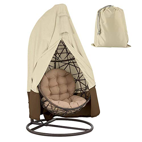 BullStar Upgrade Patio Hanging Chair Cover 420D Waterproof Wicker Egg Swing Chair Covers with Zipper Heavy Duty Oxford Outdoor Furniture Protector (75