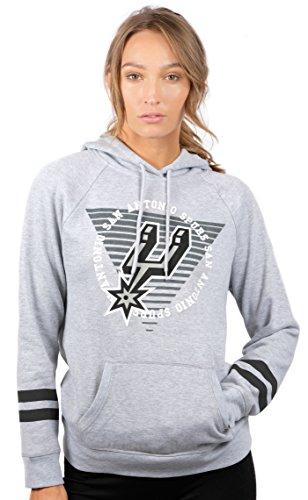 NBA Women's San Antonio Spurs Fleece Hoodie Pullover Sweatshirt Varsity Stripe, Medium, Gray