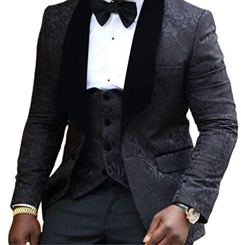 Botong Shawl Lapel Wedding Suits 3 Pieces Men Suits Groom Suit Jacket Vest Pants Black 34 Short / 28 waist