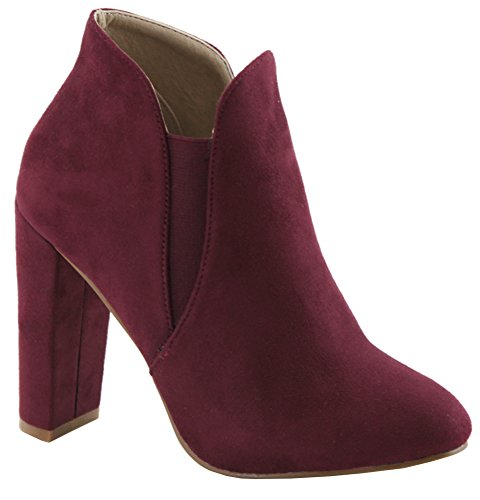 Lovmark Womens Stretchy Elastic Pull On Stacked Chunky Heel Almond Toe Bootie Wine bUeyqqNlU