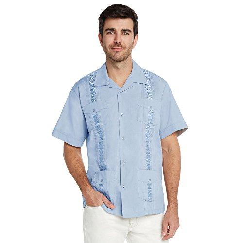 9 Crowns Essentials Men's Guayabera Button Down Shirt