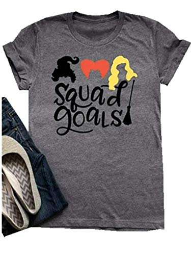 (FENKAY Womens Halloween Hocus Pocus Squad Goals T-Shirt Sanderson Sisters Graphic Tee Top (Grey,)