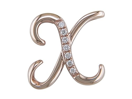 JMS Jewelry 18K Rose Gold Initial X Pave with Diamond Pendant (88)