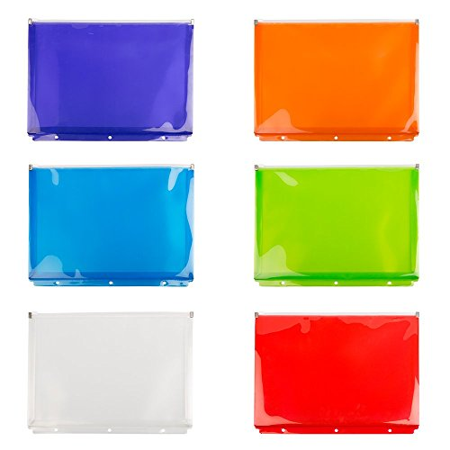 JAM PAPER Plastic 3 Hole Punch Binder Envelopes with Zip Closure - Letter Booklet - 9 3/4 x 13 - Assorted Colors - 6/Pack