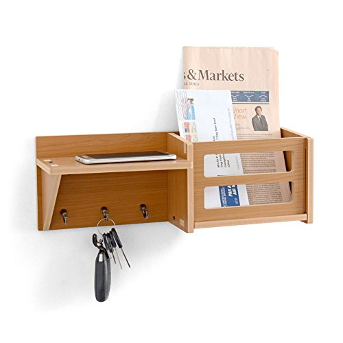 ChasBete Mail Key Wall Shelf Organizer with Keyring Holder and Mail Slot 3-in-1 Decorative Wall-Mounted Shelving with Natural Rustic Wood for Entryway Kitchen and Living Room Floating Shelves