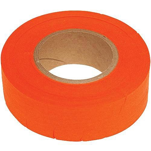 Biodegradable Flagging Tape, 1 Inch Wide x 100 Foot Roll (Orange)