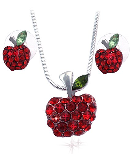 Small Red Apple Pendant Necklace Stud Earrings Jewelry Set (Red) Apple Necklace Earrings