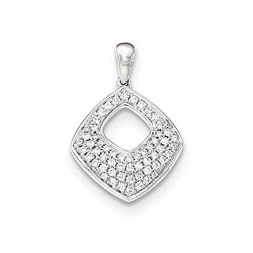 14K Solid White Gold (0.33cttw) Pave Diamond Square Pendant