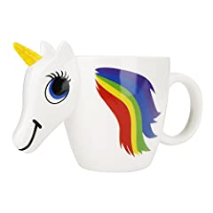 Product Description A cute Unicorn shaped mug with a 3D face and horn, just add hot water to see it magically change colour. This is the perfect present for any unicorn and tea lover. It's made of high quality ceramic and holds up to 300 ml o...