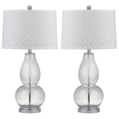 Safavieh Lighting Collection Mercurio Crackel Double Gourd Lamp, Clear, Set of 2