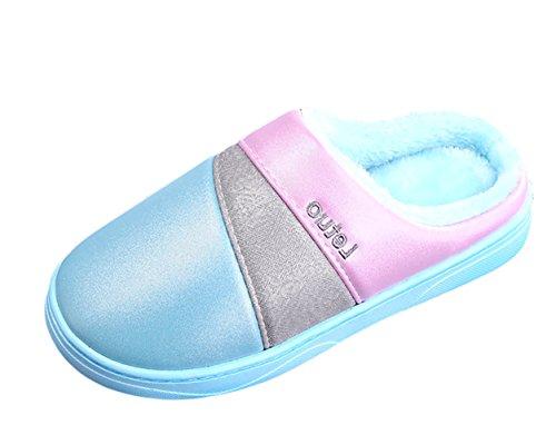 1 Chaude Plat Unisexe Pantoufles Insun Doublure Chaussons avec Mules bleu Slippers Thermique Sgw1x