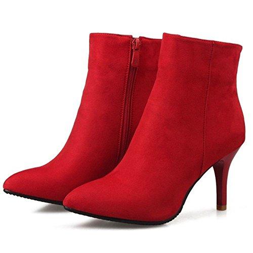 Stivali Stivali Tacco Donna Alto Alto Alto Scarpe Stiletto Stivaletti Moda Rosso TAOFFEN Cerniera Autunnali qIHw7tq