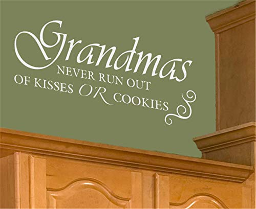 uamser Vinyl Wall Decal Wall Stickers Art Decor Peel and Stick Mural Removable Decals Grandmas Never Run Our of Kisses Or Cookies -