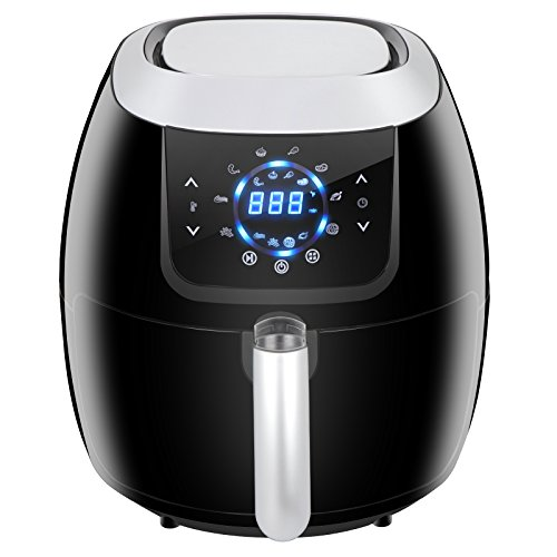 SUPER DEAL XXL 5.8 Qt 8-in-1 Electric Air Fryer Touch Screen Features Customized Function, Pause Set, 8 Cooking Presets and Recipe Books ()