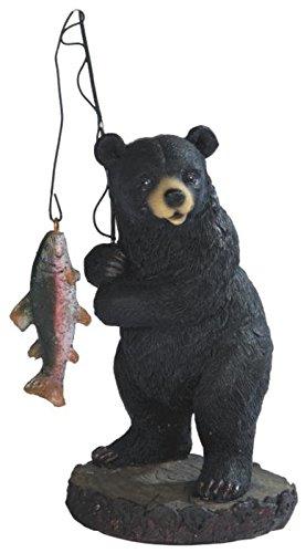StealStreet SS-G-54267 Black Bear Fishing on Black Rock Figurine, - Fisherman Figurine Chinese